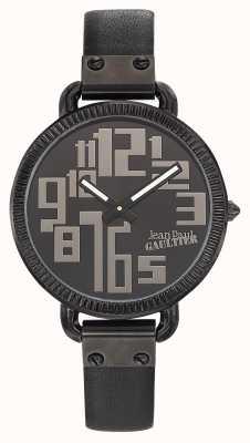 Jean Paul Gaultier Womens Index Black Leather Strap Black Dial JP8504304