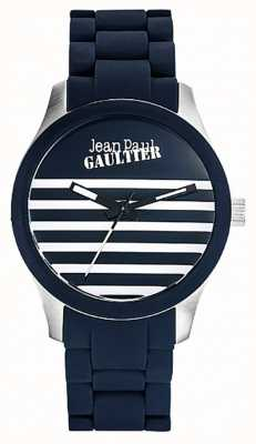 Jean Paul Gaultier Enfants Terribles Blue Rubber Steel Bracelet JP8501118