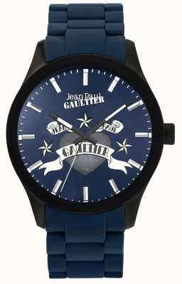 Jean Paul Gaultier Enfants Terribles Blue Rubber Steel Bracelet Blue Dial JP8501124