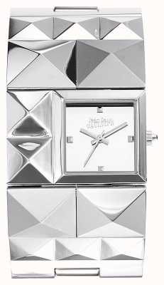 Jean Paul Gaultier Womens Over Punk Stainless Steel Bracelet Silver Dial JP8504502
