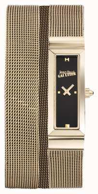 Jean Paul Gaultier Womens Cote De Maille Gold PVD Mesh Bracelet Black Dial JP8503903