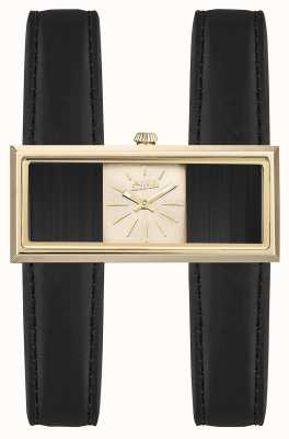 Jean Paul Gaultier Womens Double Jeu Black Leather Strap Gold Dial JP8505003