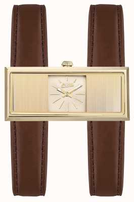Jean Paul Gaultier Womens Double Jeu Brown Leather Strap Gold Dial JP8505004