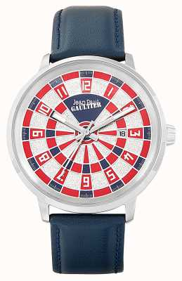 Jean Paul Gaultier Mens Cible Blue Leather Strap White Dial JP8504802