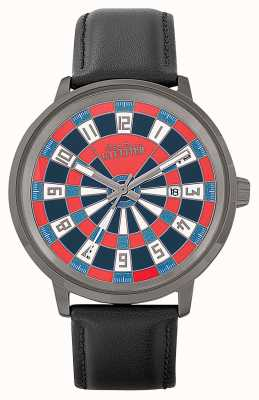 Jean Paul Gaultier Mens Cible Black Leather Strap Red Dial JP8504801