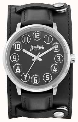 Jean Paul Gaultier Mens Decroche Black Leather Strap Black Dial JP8504701