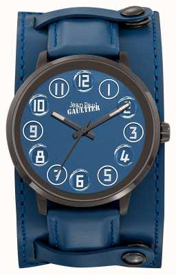 Jean Paul Gaultier Mens Decroche Blue Leather Strap Blue Dial JP8504704