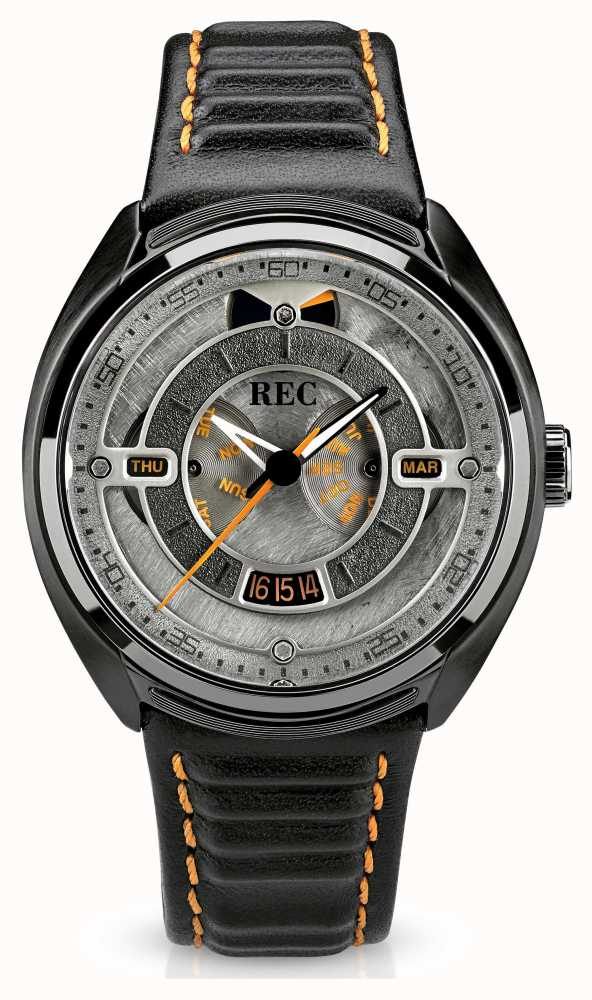 Rec Porsche Automatic Black Leather Strap Grey Dial P
