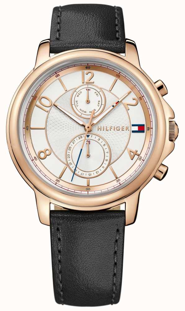 tommy hilfiger ladies rose gold black strap 1781817 first class watches usa. Black Bedroom Furniture Sets. Home Design Ideas
