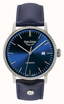 Bruno Sohnle Stuttgart Big Automatic 44mm Blue Leather Watch 17-12173-341