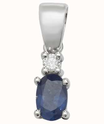 James Moore TH 9ct White Gold Sapphire And Diamond  Pendant Only PD240WS