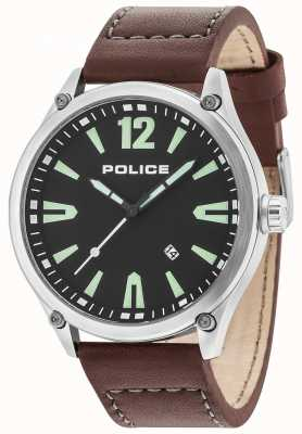 Police Mens Denton Silver Case Black Dial Leather Strap 15244JBS/02