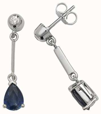Treasure House 9k White Gold Sapphire Diamond Pear Drop Earrings ED246WS