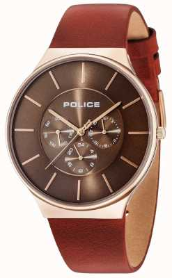 Police Seattle Rose Gold Case Brown Dial Brown Leather Strap 15044JSR/12