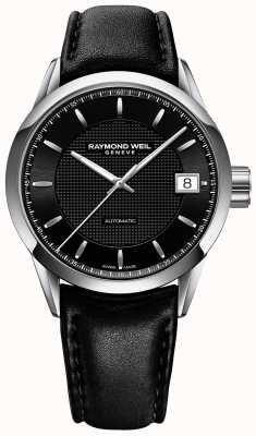 Raymond Weil Mens Freelancer Automatic Black Leather Strap Black Dial 2740-STC-20021