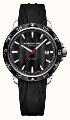 Raymond Weil Mens Tango 300 Black Rubber Strap Black Dial 8160-SR1-20001