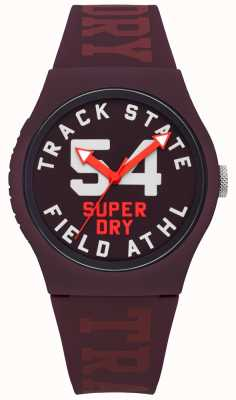 Superdry Track State Print Dial Mulberry Face Mulberry Strap SYL182RR