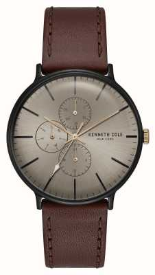 Kenneth Cole New York Bronze Dial Black Case Dark Brown Leather Strap KC15189002