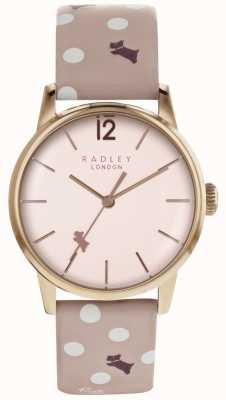 Radley Womans Vintage Dog Pink Dial Rose Gold Case Dog Print Strap RY2568