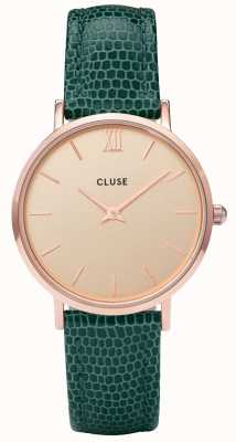 CLUSE Minuit Rose Gold Case With Champagne Dial And Emerald Lizard CL30052
