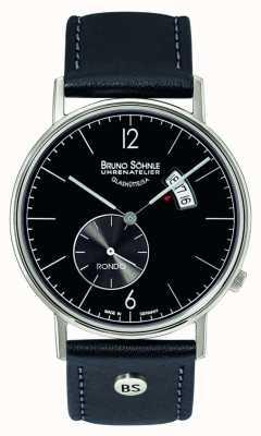 Bruno Sohnle Rondo Big 38mm Quartz Black Dial Day And Date Display 17-13053-761