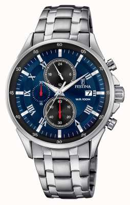 Festina Chronograph Date Display Blue Dial Stainless Steel Bracelet F6853/2