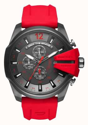 Diesel Mens Mega Chief Red Silicone Strap DZ4427