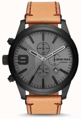 Diesel Mens Rasp Chronograph 50mm Tan Leather Strap DZ4468