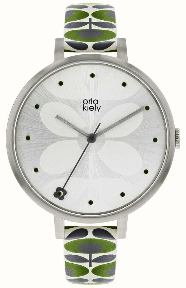 Orla Kiely Womens Ivy Watch Silver Case Green Grey Strap