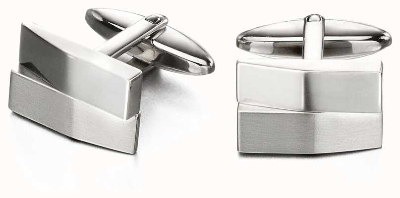 Fred Bennett Mens Brushed and Shiny Stainless Steel Cuff Links V520