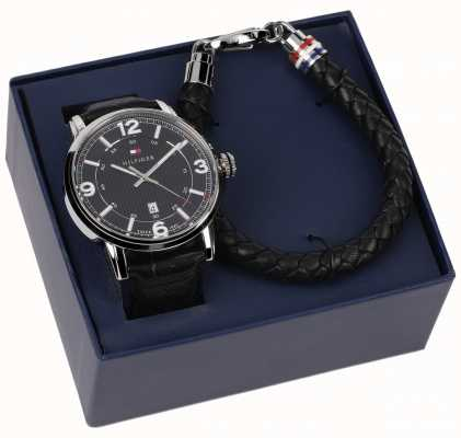 Tommy Hilfiger Mens Leather Watch And Bracelet Gift Set 2770026