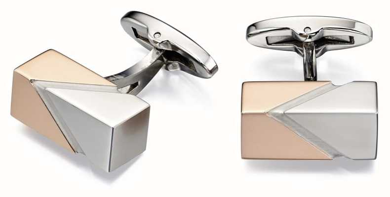Fred Bennett Stainless Steel Rose Plated Cuff Links V516