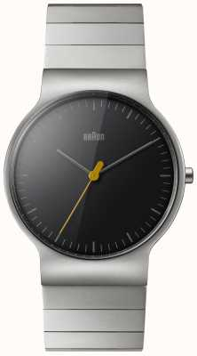 Braun Mens Classic Slim Stainless Steel With Black Dial BN0211BKSLBTG