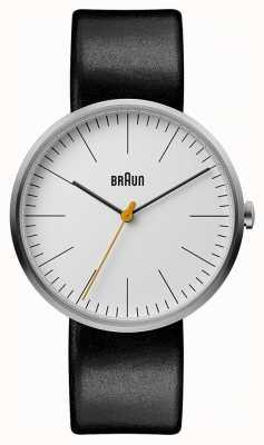 Braun Mens Classic White Dial Black Leather Strap BN0173WHBKG