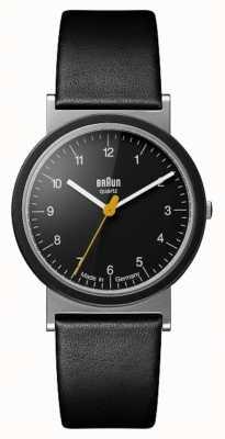 Braun Classic 1989 Tribute Design Black Leather Strap Black Dial AW10