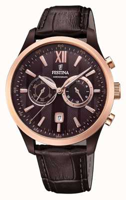 Festina Mens Chronograph Brown Leather Strap Brown Dial F16999/1