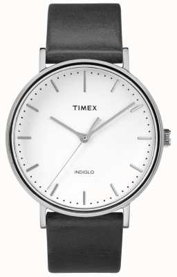Timex Fairfield 41mm Black Leather Strap/White Dial TW2R26300