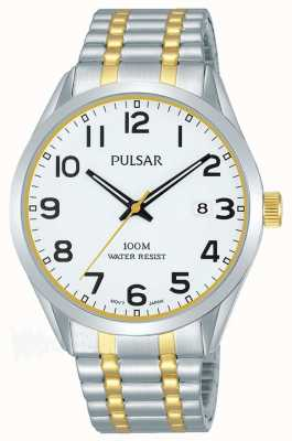 Pulsar Mens | Stainless Steel Two Tone Bracelet | White Dial | PS9565X1