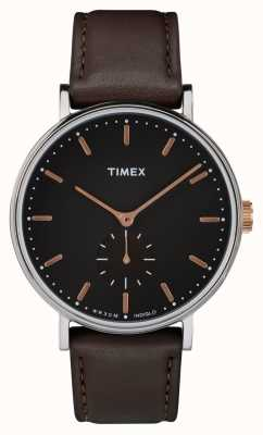 Timex Fairfield Silvertone Case Black Dial And Brown Strap TW2R38100