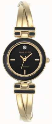 Anne Klein Womens Melanie Gold Tone Bracelet Black Dial AK/N2622BKGB