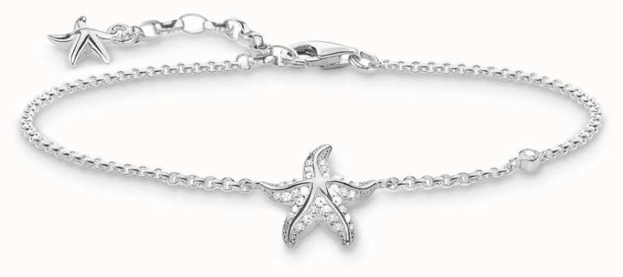 Thomas Sabo Womens Glam And Soul Sterling Silver Starfish Bracelet A1756-051-14-L19V