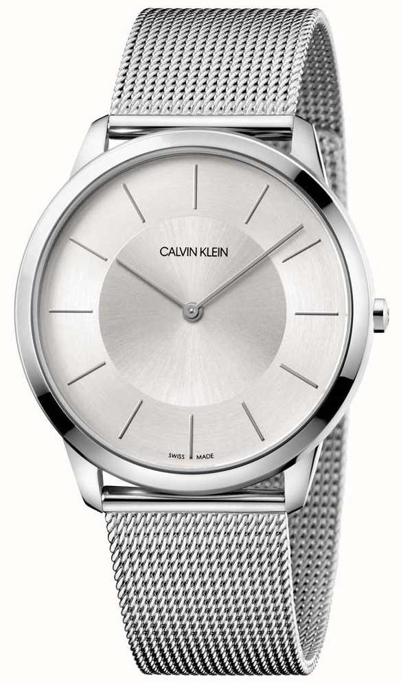 Calvin Dial K3m2t126 Mens Mesh Bracelet Silver Minimal Grey Klein XnPk8wO0