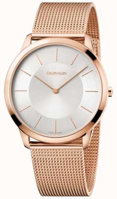 Calvin Klein Mens Minimal Rose Gold Mesh Bracelet Silver Dial Watch K3M2T626