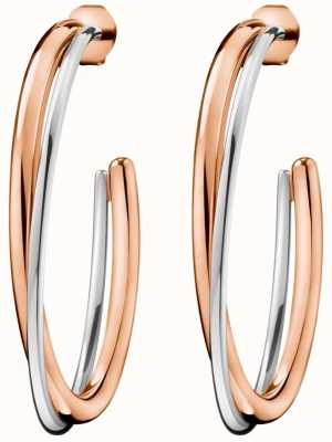 Calvin Klein Ladies Double Rose Gold & Silver Stainless Steel Earrings KJ8XPE200100