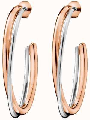 Calvin Klein Women's Double Rose Gold & Silver Stainless Steel Earrings KJ8XPE200100
