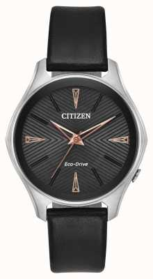 Citizen Ladies Black Leather Modena Eco-Drive Watch EM0591-01E