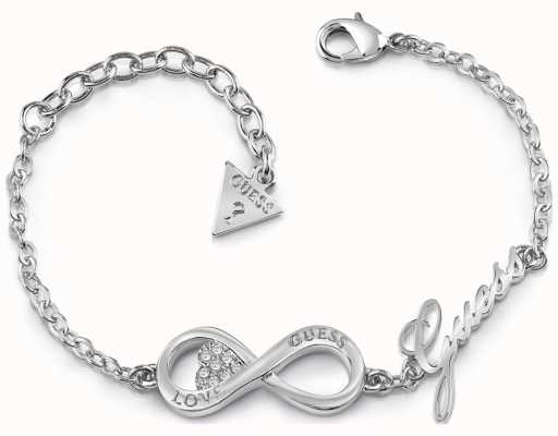 Guess Ladies Silver Plated Endless Love Infinity Heart Bracelet UBB85065-L