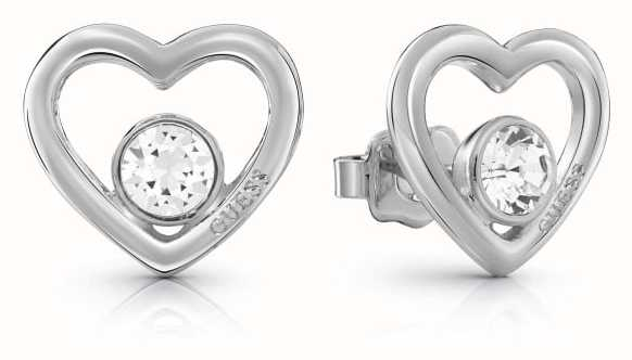 Guess Silver Princess Heart Crystal Studded Earrings UBE85074