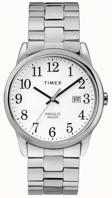 Timex Mens 38mm Expandable Band Stainless Steel White Dial TW2R58400
