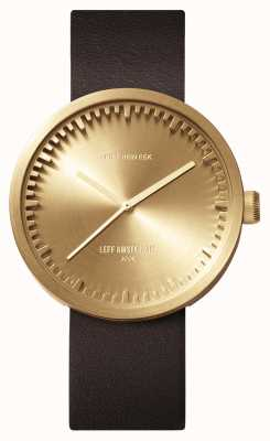 Leff Amsterdam Tube Watch D42 Brass Case Brown Leather Strap LT72022